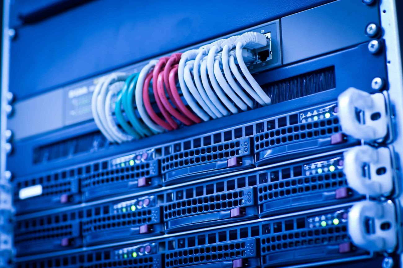11940537 - server rack cluster in a data center (shallow dof; color toned image)